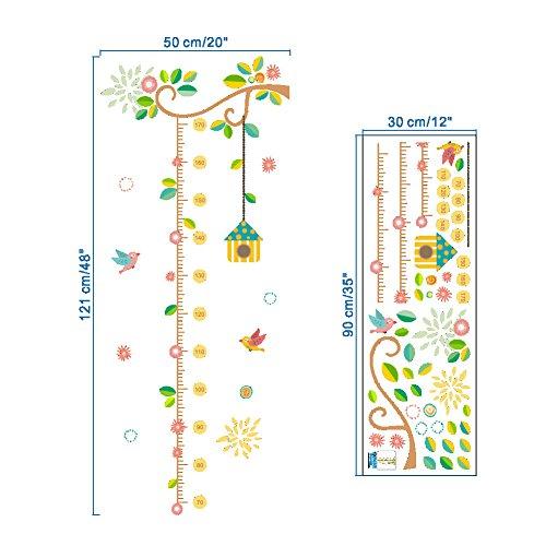 ZooArts子供部屋鳥かご可愛いな小鳥藤の蔓花取り外し可能なウォールステッカー壁デカール壁紙壁の装飾子供身長計はがせる