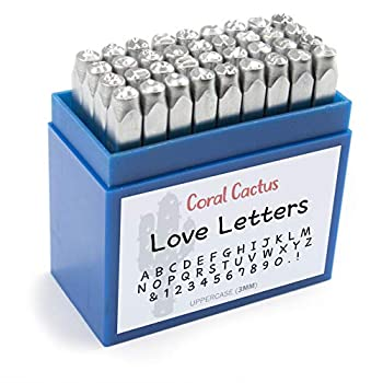 Custom Font Number and Letter Stamping Tool Case  36 Uppercase Stamps/Alphabet 0-9 & !  1/8 inch  3mm  Letters Numbers Symbols - Hard Carbon Steel Tools - Stamp/Punch Metal Jewelry Leather Wood