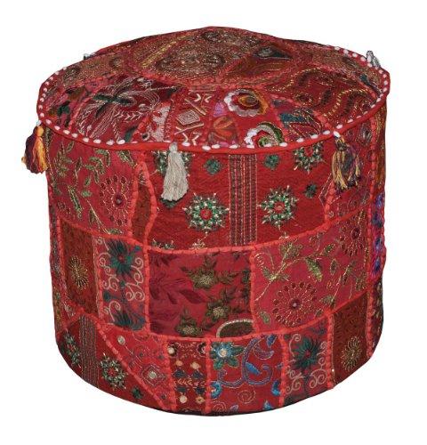 Rajasthali Traditionelle indische Startseite Dekorative osmanischen Handgemacht und Patchwork Hocker Bodenkissen, 46 x 33 cm