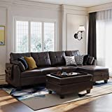 HONBAY Faux Leather Sectional Sofa Couch Set L Shaped Couch Sofa Set for Living Room Reversible Sofa Sectional with Storage Ottoman for Small Apartment (Sectional+Tray Ottoman)