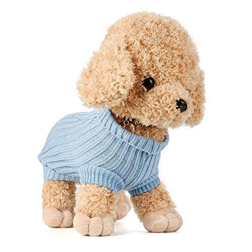 FidgetKute XXXXS XXXS XXS Small Size Dog Warm Sweater Cat Clothes for Teacup Tinny Yorkie Blue XXXXS