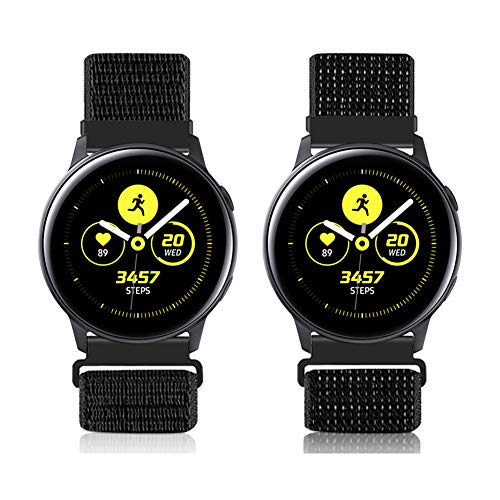 20mm Liberación Rápida Correa Reloj para Galaxy Watch 42mm/Active2 44mm 40mm /Gear Sport/Gear S2 Classic/Garmin Vivoactive 3, Nylon Deporte Bandas Reemplazo Pulsera(20mm,Negro Reflectante+Negro Oscuro