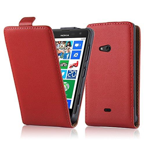 Cadorabo Hülle für Nokia Lumia 625 in Chili ROT - Handyhülle im Flip Design aus glattem Kunstleder - Hülle Cover Schutzhülle Etui Tasche Book Klapp Style