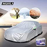 HUILI Car Cover, Waterproof All Weather for Automobiles Universal Fit Full Exterior Large Car Cover for Sedan Up to 210', Fit for Corolla, Civic, Audi A4, Benz C, BMW3 Serial etc. Silver, XL