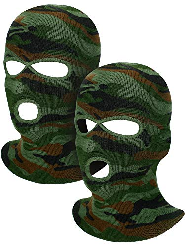2 Pieces 3-Hole Ski Mask Knitted Face Cover Winter Balaclava Full Face Mask for Winter Outdoor Sports (Camo Green)