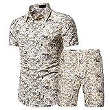 Camisa Hombre Verano Slim Fit Botón Tapeta Camisas Casuales Impresión Creativo Kent-Collar Set Hombres Camisa Surf Hawaii Camisa Pesca Hombres Manga Corta I-Yellow XXL