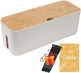 Calife 改良版 北欧インテリア 電源タップ & ケーブルボックス テーブルタップ収納ボックス 蓋は改良され竹製になり 5本シリコン製結束バンド付属 竹製&樹脂製 (Lサイズ‐白/ホワイト)
