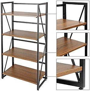 ZenStyle 4 Tier Bookshelf No-Assembly Folding Book Case Home Office Storage Ladder Shelf Industrial Standing Bookcase Organizer Book-Shelf Rack