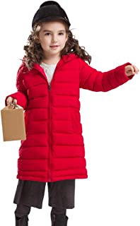 Xifamniy Infant Girls Long Sleeve Down Jacket Candy Color Zipper Hooded Striped Coat