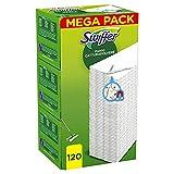 Swiffer Dry Panni Cattura Polvere, 120 Panni, Cattura e Intrappola Polvere e Sporco, Ottimo per I peli di Animale, per Tutti I Tipi di Pavimenti, Maxi Formato