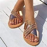 CHLDDHC Sandalias Planas De Verano para Mujer Sandalias De Punta Abierta Antideslizantes De Cuero Zapatos De Playa Transpirables Antideslizantes Vintage
