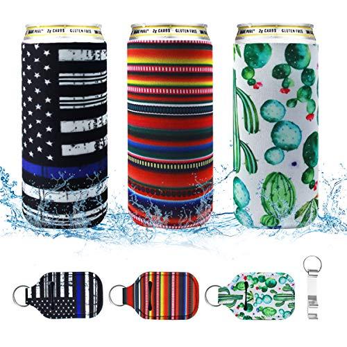 3er-Pack Slim Dosen-Kühler, Neopren, isoliert, wiederverwendbar, Getränkehalter für 340 ml Energie, Bier und sprudelndes Wasser (bunt)