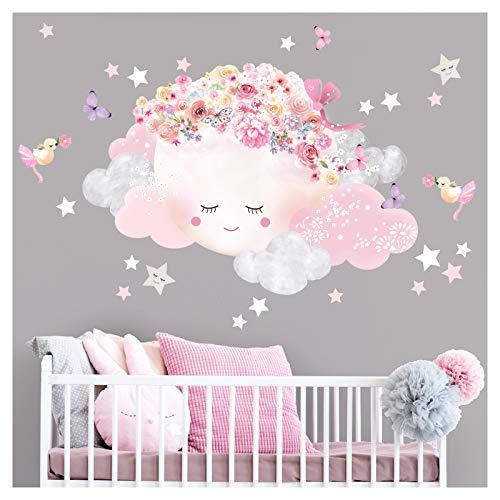 Little Deco Wandtattoo Kinderzimmer Mädchen Mond mit Schleife & Wolken I Mond 3-72 x 50 cm (BxH) I Wandsticker Babyzimmer selbstklebend Baby Wandaufkleber Sterne Kinder DL449-3