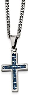 Black Bow Jewelry Stainless Steel & Blue Carbon Fiber Small Cross Necklace, 20 Inch
