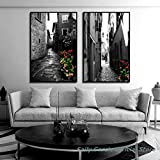 EDGIFT2 Modern European Style Architecture Canvas Art Painting Paris Nordic Stree Landscape Wall Picture for Living Room HD Print Poster 50x70cmx2 (Sin Marco)