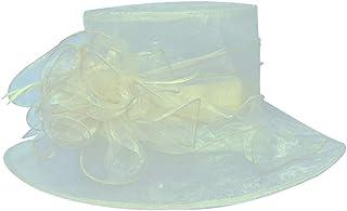 Women's Organza Fascinator Cap, Wide Brim UV-Anti, Church Derby Tea Party Wedding Hat,Ivory