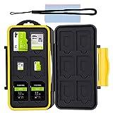 Caja de Protección, Almacenamiento Funda de Tarjeta de Memoria Estuche Impermeable para 12 SD y 12 Micro SD Tarjetas + 2 Super Fibra Tela