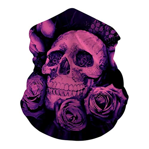 Roses Skulls Bandanas Multifunction Face Mask Headband Neck Magic Scarf for Motorcycle Cycling Sports