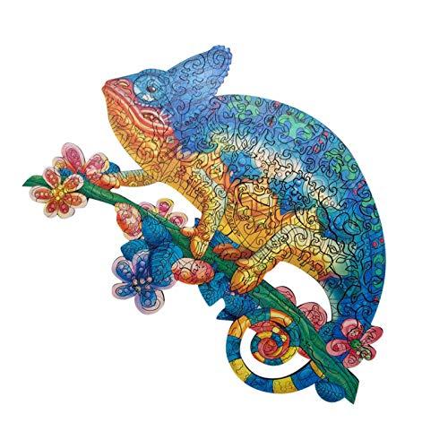 Chamäleon 3D-Puzzle, unregelmäßiges Holzpuzzle, 0,5 cm Dicke, für Erwachsene und Kinder, pädagogisches Dinosaurier-Puzzle
