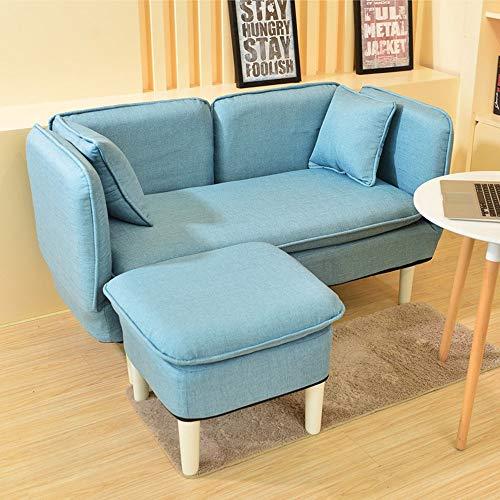 Zjcpow Silla moderna de tela con taburete otomano para salón, dormitorio, club, oficina (color: azul, tamaño: tamaño libre)