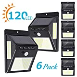 wireless motion light sensor - Solar Lights Outdoor[120 LED/3 Optional Modes],270°Lighting Angle Solar Motion Sensor Lights Wireless IP65 Waterproof Outdoor Solar Security Lights for Porch Garden Yard Fence Patio Deck (6 Pack)