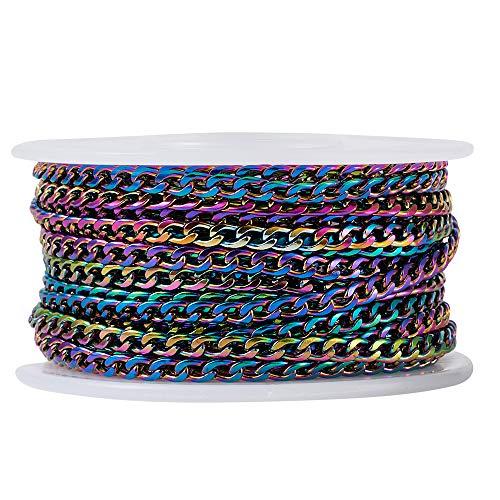 Beadthoven 304 Cadenas de acero inoxidable chapado al vacío, multicolor, trenzadas, cadenas de eslabones con carrete redondo para hacer joyas