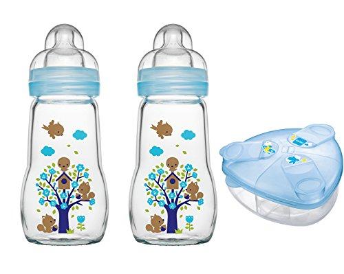MAM Set - 2 x Feel Good Glass Bottle 260 ml Glas Flasche & Milchpulversender für Jungen