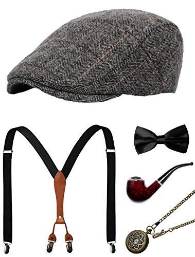 1920s Mens Accessories Gatsby Gangster Costume Accessories Set Manhattan Fedora Hat Suspenders Bow Tie Pocket Watch (5-Grey Set)