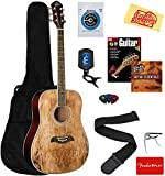 Oscar Schmidt OG1 3/4-Size Kids Learn-to-Play Acoustic Guitar Bundle with Gig Bag, Strings, Tuner, Strap, Picks, Instructional Book, Capo, DVD, and Austin Bazaar Polishing Cloth - Spalted Maple