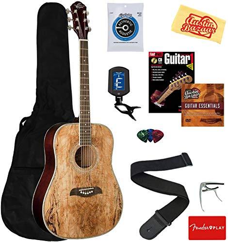 Oscar Schmidt OG1FYS 3/4-Size Kids Learn-to-Play Acoustic Guitar Bundle w/Gig Bag, Strings, Tuner, Strap, Picks, Book, Capo, DVD, and Austin Bazaar Polishing Cloth - Flame Yellow Sunburst