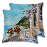 Seascape Pillowcase Personalized (2 PCS, 22x22 Inch) Balcony Sea Rocking Chair Comfortable and Soft for Home Decor Sofa Bedroom Car