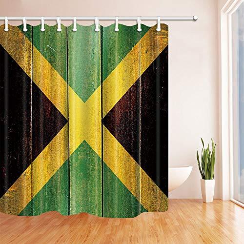 SHUHUI Vintage Jamaika-Flagge auf Grunge Holzverkleidung Duschvorhang 180X180CM Mehltau resistentem Fantastische Dekorationen Bad Haken