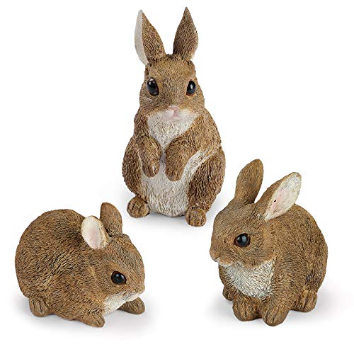 Giftchy Bunny Garden Figurines Set of 3  Whimsical Rabbit Decorations for Outside  Resin Animals Statues  Spring Decor for Home  Dark Brown Finish 5.375  H
