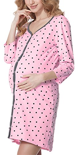 Bellivalini Camicia da Notte Premaman Manica 3/4 con Funzione Allattamento BLV50-115 (Rosa-Pois (Grafite), M)