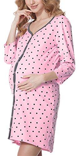 Bellivalini Damen Stillnachthemd 3/4 Arm BLV50-115 (RosaPunkte (Graphite), L)