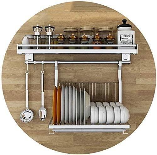 KMILE Home Cucina Scaffale Organizzatore Acciaio Inossidabile Rack Spezia a Muro, portaviglie, Rack di stoccaggio Multifunzione