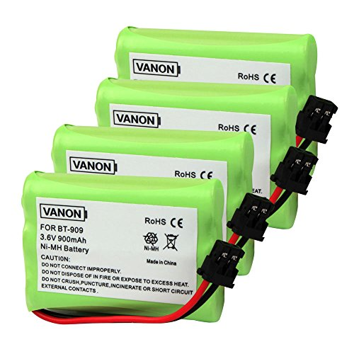 VANON BT-909 Cordless Phone Battery, 3.6V 900mAh Replacement Battery for Uniden BT909 BT1001 BT1004 DECT 1500 DECT 1588-5 TRU-12803 TRU-226 TRU-9260 TRU-9360 Dantona Batt-909 Batt909 Empir (Pack of 4)
