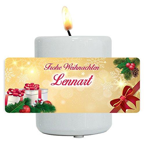 Teelichthallter mit Namen Lennart und schönem Weihnachts-Motiv mit Geschenken und Schleife