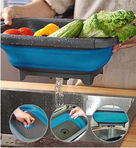 Multi-function Silicone Sink Draining Basket Stretchable and Collapsible Colander Washing and Storage for Vegetables Fruit Picnic and Camping BLUE