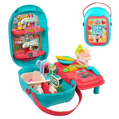 Juegos de Comida de Juguete de supermercado de Compras de simulación, 49 Piezas de simulación de Tienda, Juego de Juguetes para niños , Juguete de Regalo Educativo para niños de 3 años o más