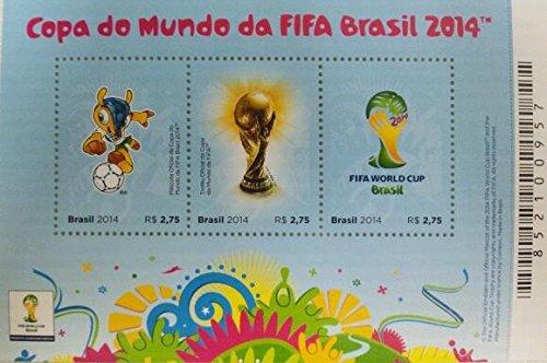 ブラジル直輸入 2014年FIFAワールドカップ ブラジル開催記念切手(1シート3枚)ブラジル郵便電信公社発行