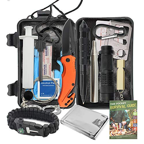 Survival Gear kit 18 in 1,Emergency Tactical Tool Kit for Hiking Camping Fishing Adventures, Gifts for Men Dad Husband with Valentine's Day Gift