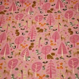 Jersey Waldtiere, Bäume, rosa (50cm x 155cm)
