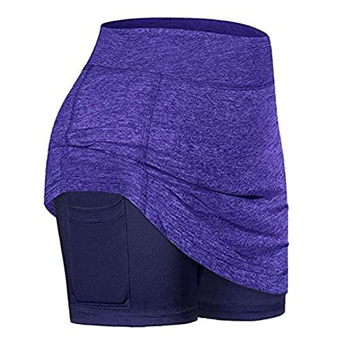 JXZB Mujeres Surment Sports Borth Mini Faldas Rendimiento Falda YO-GA Correr Tenis Golf Entrenamiento Deportes Falda de Tenis 715 (Color : Light Purple, Size : L)