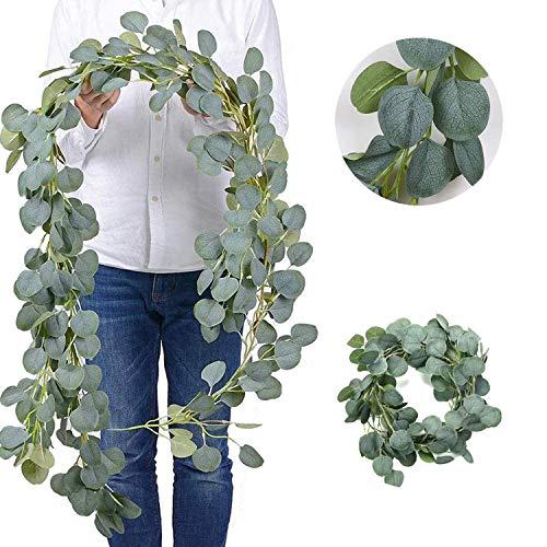 LATTCURE Eukalyptus Künstliche 2m Eukalyptus Girlande Künstlich Pflanze, Eukalyptus Blätter Deko Girlande Hochzeit Kranz Hängen Reben Urlaub Hochzeit Home Dekoration Zubehör oder als Wanddekoration