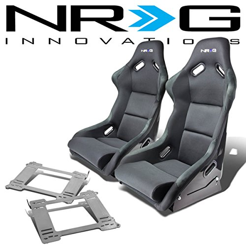 NRG FRP-300E Pair of Fiber Glass Bucket Racing Seat (Black)+Mounting Bracket Compatible with BMW E36 3-Series
