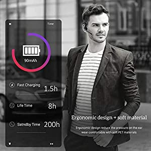 PTron Rover Handsfree Earpiece Wireless Earphone with Mic Mute Key Ultralight Bluetooth Headphones in-Ear Earbuds for Business/Office/Driving Support (Black, Lightweight, CSR Chipset, 90mAh Battery