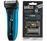 ブラウン WaterFlex メンズ電気シェーバー 3枚刃 WF2s ブルー お風呂剃り可+替刃