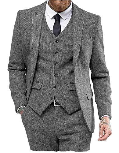 High-End Suits 3 Pieces Men Suit Set Slim Fit Groomsmen/Prom Suit for Men Two Buttons Business Casual Suit, Gray, Chest46''/Waist40''