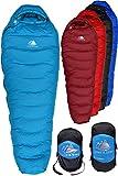 Hyke & Byke Snowmass -15ºC Saco de Dormir de Plumón - Saco de Dormir Adulto Momia con Base ClusterLoft Ligero para Excursiones y Camping – Camping Accesorios en 5 Colores Diferentes